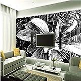 HONGYAUNZHANG Schwarz Und Weiß Übergroße Blume Benutzerdefinierte Fototapete 3D Stereoskopischen Wand Wohnzimmer Schlafzimmer Sofa Hintergrund Wandmalereien,260Cm (H) X 340Cm (W)