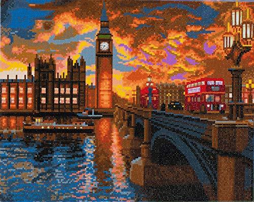 Craft BUDDY Diamond Painting Bild London mit LED Beleuchtung, auf Keilrahmen, ca. 50x40cm, Vollbild