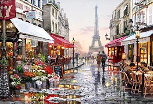Falten Sie Über Rahmen (Tirzah Malen nach Zahlen mit 3X Bildschirmlupe 40 x 50cm DIY Leinwand Gemälde für Erwachsene und Kinder, Enthält Acrylfarben und 3 Pinsel - Romantische Pariser Straße (Ohne Rahmen))