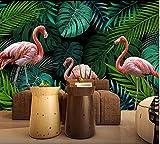 (140X70CM), alte Zeitung 3D tapete - Hand gezeichnet tropischen Regenwald Flamingo - Wallpaper Poster Wanddekoration von Bestwind