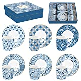 Easy life 126 cmtb Juego de 6 tazas a Cafe de porcelana Coffee Mania Tiles Blue, 0.1 liters, MULTICOULEUR