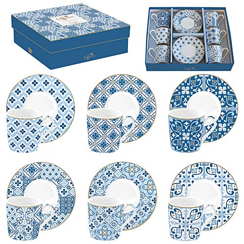Easy life 126cmtb Juego de 6tazas a Cafe de porcelana Coffee Mania Tiles Blue, 0.1liters, MULTICOULEUR
