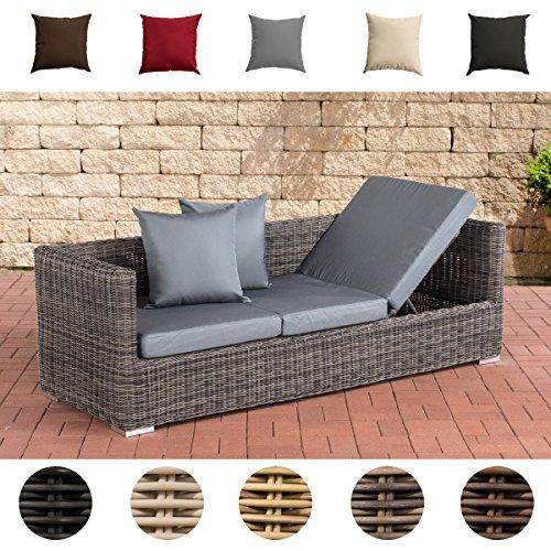 CLP flexibles Luxus Poly-Rattan 3er Lounge-Sofa SOLANO 5mm, ALU-Gestell, 5 Rattanfarben + 5 Kissenfarben, inkl. Auflagen Rattanfarbe: Grau-meliert, Kissenfarbe: Eisengrau (Outdoor-modernes Sofa Moderne)