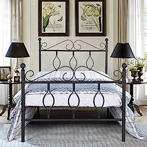 Aingoo Metallbett mit Lattenrost Bettrahmen Kopfteil Gästebett Jugendbett Kinderbett Single Bed schwarz