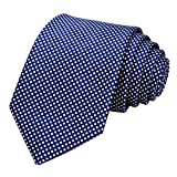 GASSANI Krawatte 8cm Breit Dunkelblau Weiss|Karo kariert Herrenkrawatte | Schlips Binder zum Anzug Sakko Seide-Optik