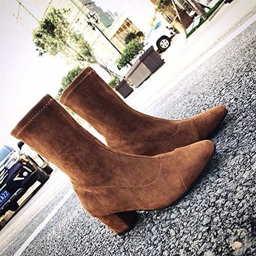 Womens Winter Woven Shoes Combattez Bottes Bout Pointu Bottes Pour Café Café Noir En Plein Air