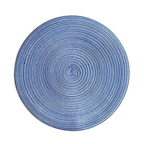 Vaskey Topfmatte aus Baumwollgarn, Isolier-Pad, Hot Thread, rund, Platzdeckchen, Untersetzer Qualität, Isolierung, flexibel und langlebig, rutschfest, Wärmekissen und Untersetzer, blau, 36 cm