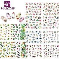 KADS Nail Art Stickers Plantilla Uñas Decoración Pegatinas de arte- Flor Hojas Flamencos Etiqueta Engomada Del Clavo Tatuaje Tatuajes de Uñas de Verano