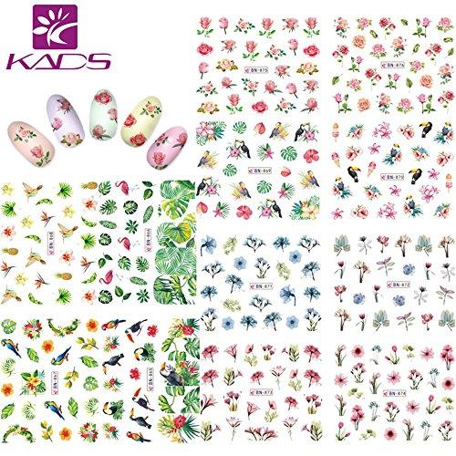 KADS Nail Art Aufkleber Full Wrap Space Design-Blume Blätter Flamingos Nail Sticker Tattoo Sommer Nagel Decals (Blume Tattoo Tropische)