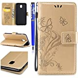 FESELE Coque Samsung Galaxy J5 2017(Version Européenne),Fleur Papillon Embossé Housse Samsung Galaxy J5 2017,Samsung Galaxy J5 2017 Coque à Rabat Magnétique Housse Etui de Protection Ultra Slim Mince Pure Leather Pu Case avec Dragonne Corde Flip Wallet