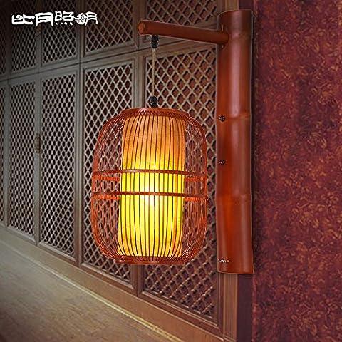 BBSLT Vento di sud-est asiatico parete lampada comodino corridoio camera da letto dell'annata creativo cinese bambù moderna applique giardino 500 * 230 * 230mm