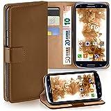 moex Samsung Galaxy S3 | Hülle Braun mit Karten-Fach 360° Book Klapp-Hülle Handytasche Kunst-Leder Handyhülle für Samsung Galaxy S3 / S III Neo Case Flip Cover Schutzhülle Tasche