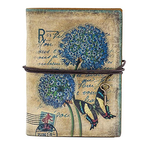 Saflyse Retro Vintage elegant Leder Notebook Journal Notizbuch Personal Diary Reisen-Tagebuch Loseblatt Notizblock (Schmetterling)