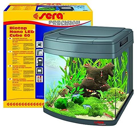 sera 31106 Biotop Nano LED Cube 60 ein 60 l Süßwasser-Komplettaquarium mit LED Beleuchtung und