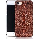 Vandot Naturaleza Bambu Funda para iPhone 5 5S Madera Carcasa Bamboo Cover Piel Rigido Bumper PC Hardcase para iPhone SE - Azteca Tribal Monkey mono