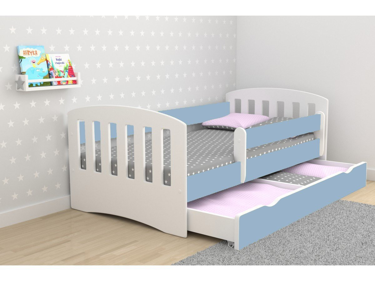 Children's Beds Home Single Bed Classic 1 - For Kids Children Toddler Junior No Mattress and No Drawers Included (Blue, 140x80) Children's Beds Home Bed with barriers - Internal Dimensions 140x80 160x80 180x80 (Externally: 144x90 164x90 184x90) Bed frame with load capacity of 120 kg, Fittings, Installation Instructions, Wodden Slats Included Universal bed entrance - right or left side, front barrier can be removed at later stage. 3