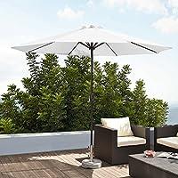 [casa.pro] Sombrilla Ø 300cm [blanca] con manivela parasol para jardín, terraza, balcón patio