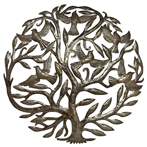 Steel Drum Art - 24 inch Tree of Life by Haitian Artists
