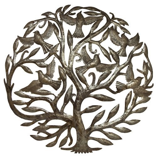 Steel Drum Art - 24 inch Tree of Life by Haitian Artists (Steel Art Drum Haitian)