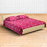 EIN SOF 100% Cotton Double Bedsheet (90x100 Inches) With 2 Pillow Covers Combo Set, Double Bed, King Size Cotton Bed Sheet, Pure Cotton, Floral Collection, 300 TC, Red Pink