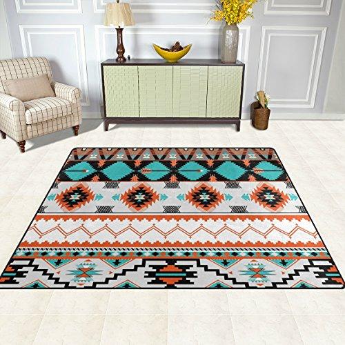 DOSHINE Bereich Teppiche Matte Teppich 4'X5', Ethnic Tribal Azteken geometrisches Muster Polyester rutschfest Wohnzimmer Esszimmer Schlafzimmer Teppich Eingang Fußmatte Home Decor, multi, 4'x5' (Geometrischen Bereich Teppich)