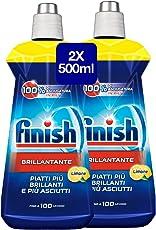 Finish Brillantante Additivo Lavastoviglie, Limone, 2 x 500 ml