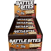 Battle Bites High Protein & Low Carb, Low Sugar Bar, Chocolate Caramel, 12 x 62g bars (2 x 31g pieces per bar) Baked by Battle Oats
