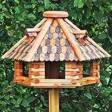 VOSS.garden Großes Vogelhaus Herbstlaub | Imprägniertes Holz | 50cm Durchmesser Futterplatte | Mit Sitzstangen für Vögel | Vogelhaus Vogelvilla Futtervogelstation