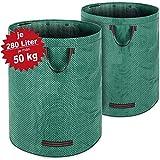 Gartenabfallsack Laubsack 2 x 280 Liter = 560L bis zu 50kg belastbar zusammenfaltbar Gartensack Gartentasche Rasensack