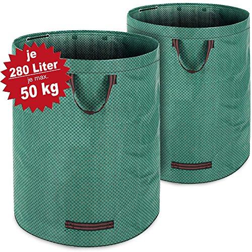 2x Gartenabfallsack Laubsack 280L + 3 Tragegriffe | doppelte Nähte | bis zu 50kg belastbar | platzsparend zusammenfaltbar | Gartensack Abfallsack Gartentasche Rasensack