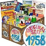 Original seit 1958 | Spezialitäten Geschenk | Geschenkkorb | Original seit 1958 | DDR Geschenk | ausgefallene Geschenke für Frauen | Geschenke zum 60 Geburtstag Mutter | inkl. DDR Kochbuch
