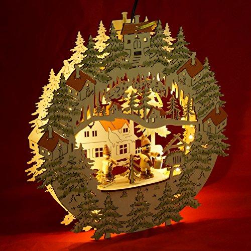 nir Laser Forest Szene und Winter Figur Fenster selbst mit 2D Optik, LED-Streifen und Adapter, 30x 30x 5cm, Holz, Beige, 29,5x 5x 30cm (Winter-szene)