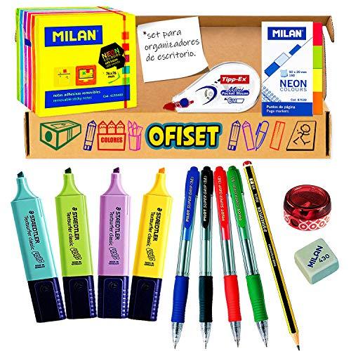 Pack material oficina y papeleria - Pack boligrafos pilot, Subrayadores pastel pack material escritorio, papeleria escolar, material escolar kawaii para organizador escritorio en materiales escolares