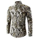Herren Hemd Slim Fit Langarmshirt Freizeit Langarmhemd Bügelfreies Business Formale Anzug Party T Shirt Herren Mens Hawaii-Shirt 3D-Druck T-Shirt Sport Langarm T-Shirts Bluse Top (M, Gold)