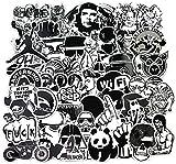 Sticker Pack [120pcs], Sanmatic adesivi murali in bianco e nero Vinili per laptop, auto, moto, biciclette, borse da skateboard, adesivi per paraurti adesivi hippy decalcomanie