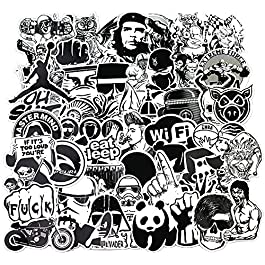 Sanmatic Sticker Pack [120pcs], Adesivi murali in Bianco e Nero Vinili per Laptop, Auto, Moto, Biciclette, Borse da…