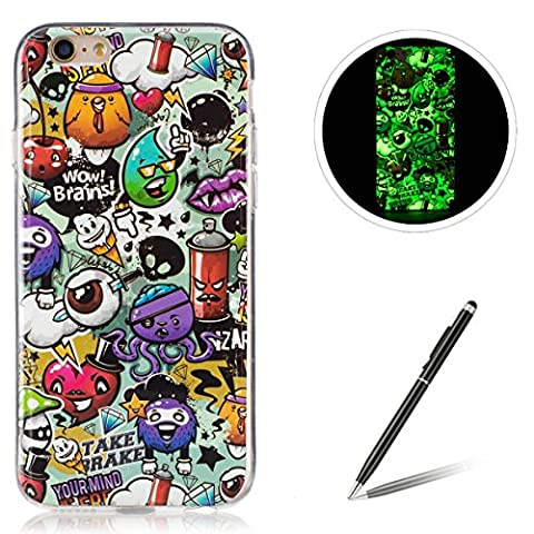 iPhone 6/6S Plus 5.5 Inch TPU Case Coque iPhone 6/6S Plus Gel Housse Feeltech [Gratuit Stylet Pen] Luminous Effect Noctilucent Green Glow in the Dark Matte White Ultra Slim Soft Rubber Shock Absorber Flexible Bumper Protective Cover Skin Shell pour Apple Apple iPhone 6/6S Plus with Stylish Unique Colourful Printed Pattern Design - Peinture Graffiti