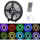 Noza Tec Ultra Bright Flexible Waterproof SMD 5050 RGB LED Strip light 5M / 300 LEDs + 44 Key IR Remote Set Ideal for Car Styling,Bars, Restaurants,Gardens,Homes Office,Aircraft Cabin, DIY Party Decoration Ribborn