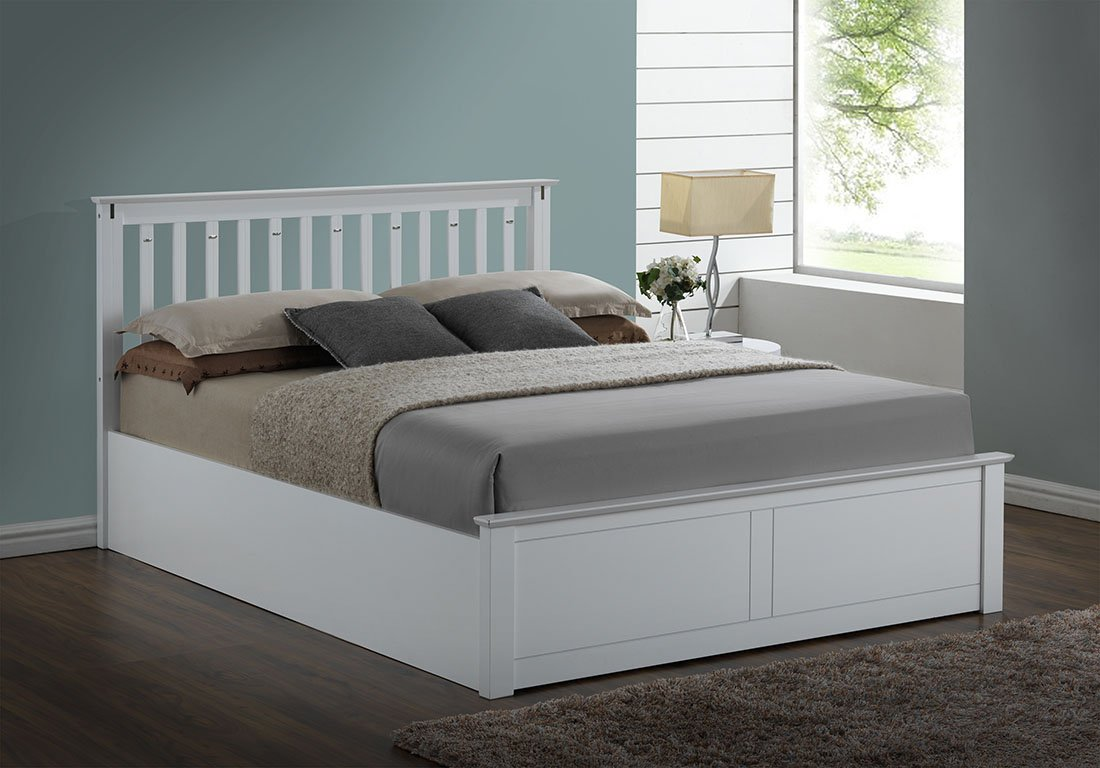 Double Bed Sale Uk Part - 46: Kensington White Wooden Storage/Ottoman Double Bed Frame: Amazon.co.uk:  Kitchen U0026 Home