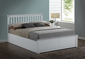 kensington white wooden storageottoman double bed frame amazoncouk kitchen home