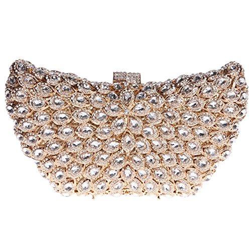 Santimon Clutch Delle Donne Ali Borsellini Borsa Oversize Diamante Cristallo Borsa Da Festa di Nozze Sera Con Tracolla Amovibile oro