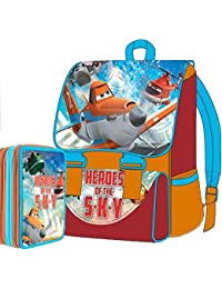 Preisvergleich für Disney Planes Dusty Schul-Set Promo-Paket Rucksack erweiterbar + Federmäppchen mit 3 Reißverschlüssen, Edition...