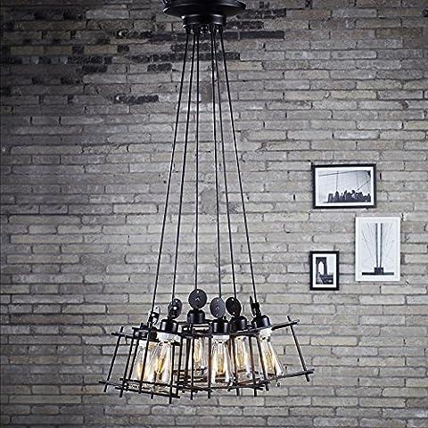 BJVB Candelabros hierro creativo marco Edison lámpara jaula arañas 6 cabeza