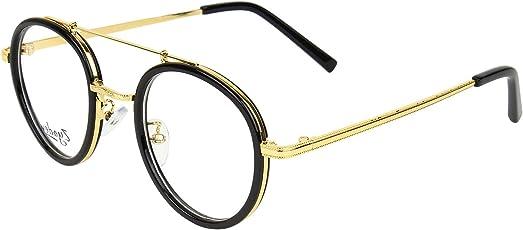 Zyaden Unisex Mretal Full Rim Round Eyewear Frame(Black, 50, Frame-A118)