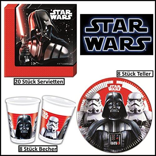 Star Wars Last Battle Geschirr-Set 36-teilig Servietten Pappteller Plastikbecher Kindergeburtstag Partygeschirr für 8 Kinder