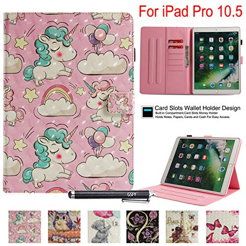 Newshine Schutzhülle für iPad Pro 10.5 2017, Smart Stand Case mit Kartenfächern für Apple iPad Pro 10,5 Zoll 2017 Modell A1701 A1709 (Auto Sleep/Wake), 3 L Unicorn 3 Liter Modell