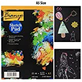 #8: Bianyo Hardback A5 140 gsm 25 Sheets Black Paper Artist's Sketch Drawing Pad, 210mm x 148mm