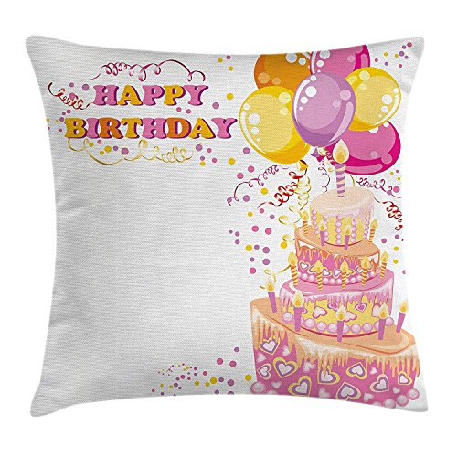 Birthday Decorations for Kids Throw Pillow Cushion Cover, Girl Themed Party Cake Candles Balloons Hearts Image, Decorative Square Accent Pillow Case, 18 X 18 Inches, Pink and Orange Lavender Square Candle