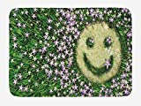 ARTOPB Garden Bath Mat, Smiley Emoticon on The Grass with Spring Flowers Happy Humorous Meadow Print, Plush Bathroom Decor Mat with Non Slip Backing, 23.6 W X 15.7 W inches, Lavander Green