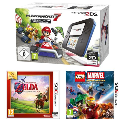 Console Nintendo 2DS + Mario Kart 7 + The Legend of Zelda : Ocarina of Time + Lego Marvel Super Heroes